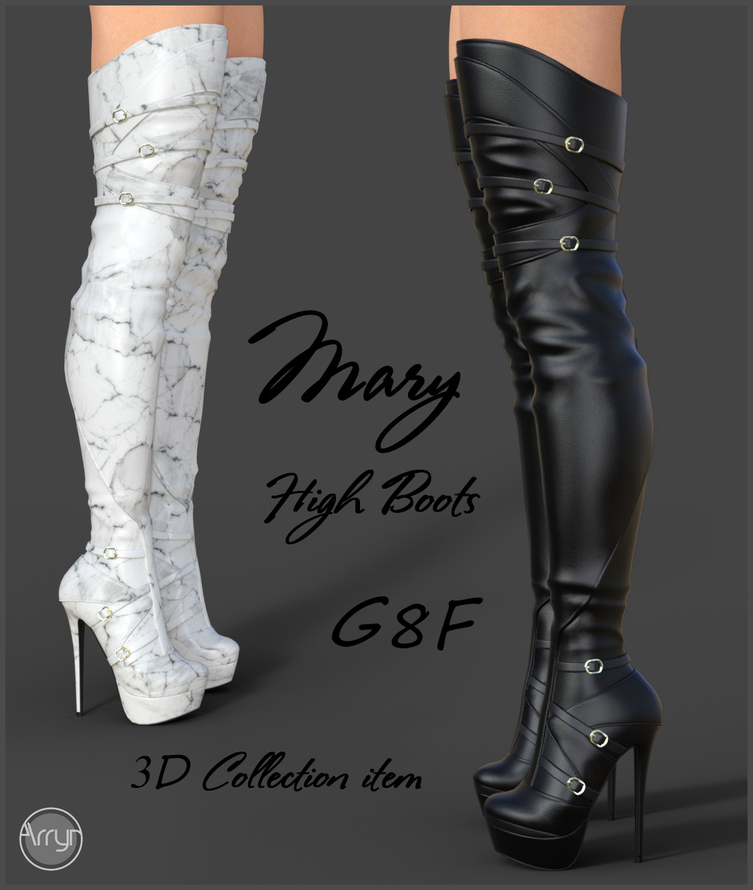 Mary High Boots for Genesis 8 Females