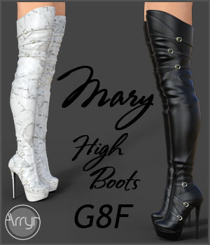 Mary High Boots for Genesis 8 Females 3D Figure Assets Onnel