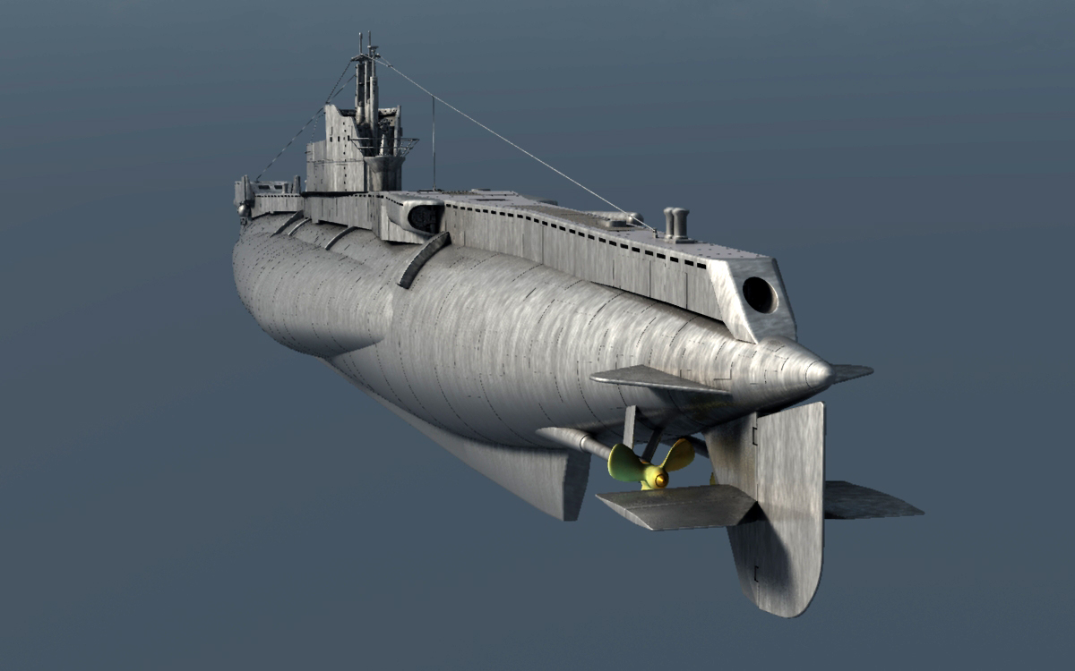 ms17 british t type submarine for vue 3d models london224
