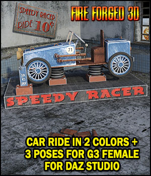 Speedy Racer Car Ride and Poses for DS 3D Models FireForged3D