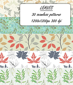 Leaves - Seamless patterns 2D Graphics Merchant Resources romawka