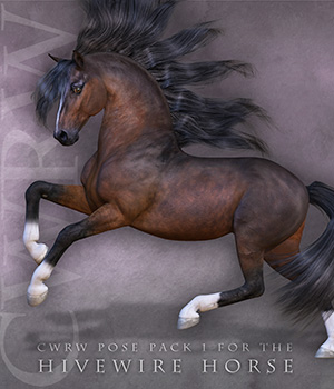 CWRW Pose Pack 1 for HiveWire Horse 3D Figure Assets cwrw