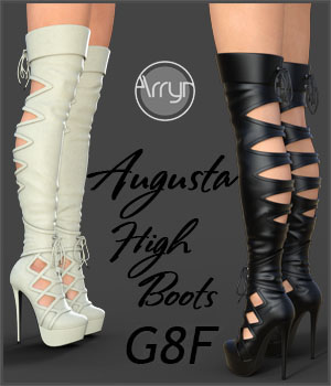 Augusta High Boots for Genesis 8 Females 3D Figure Assets Onnel