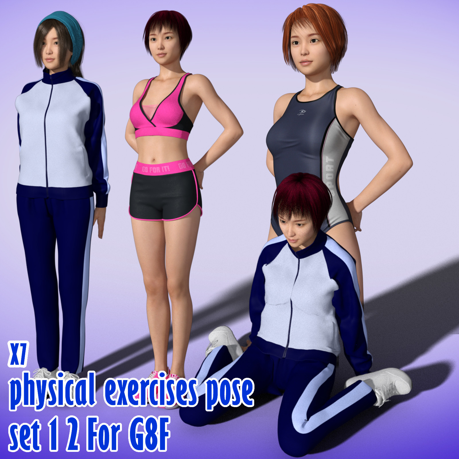 X7 physical exercises poses set 1 2 for G8F by x7