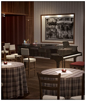 Drinks at the Piano Bar  - Poser & DS  3D Models RPublishing
