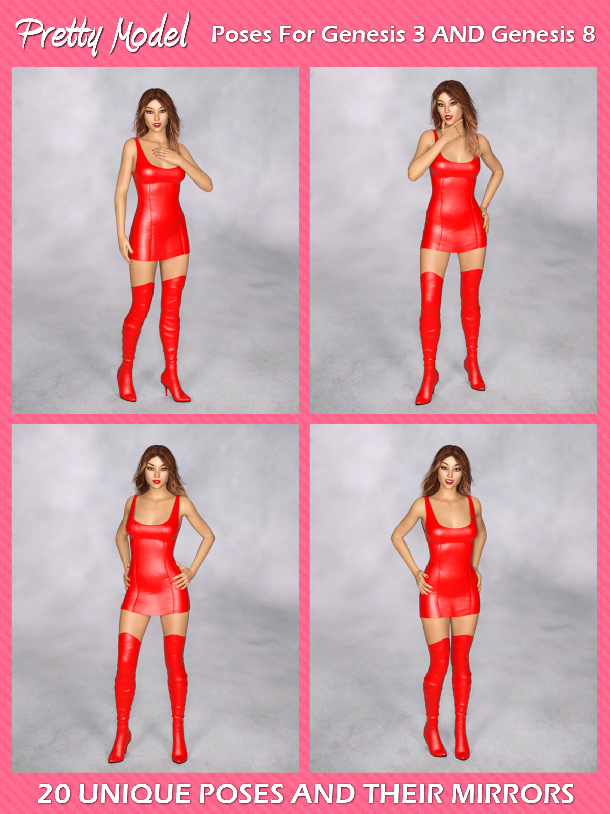 Pretty Model Poses For G3F And G8F 3D Figure Assets Foxy-3D