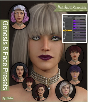 8 Preset Faces for Genesis 8 Female - Merchant Resource 3D Figure Assets Merchant Resources nelmi