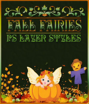 Fall Fairies PS Layer Styles 2D Graphics Merchant Resources fractalartist01
