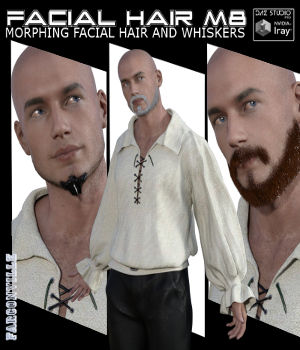 Facial Hair for Michael 8 and Genesis 8 Male by farconville