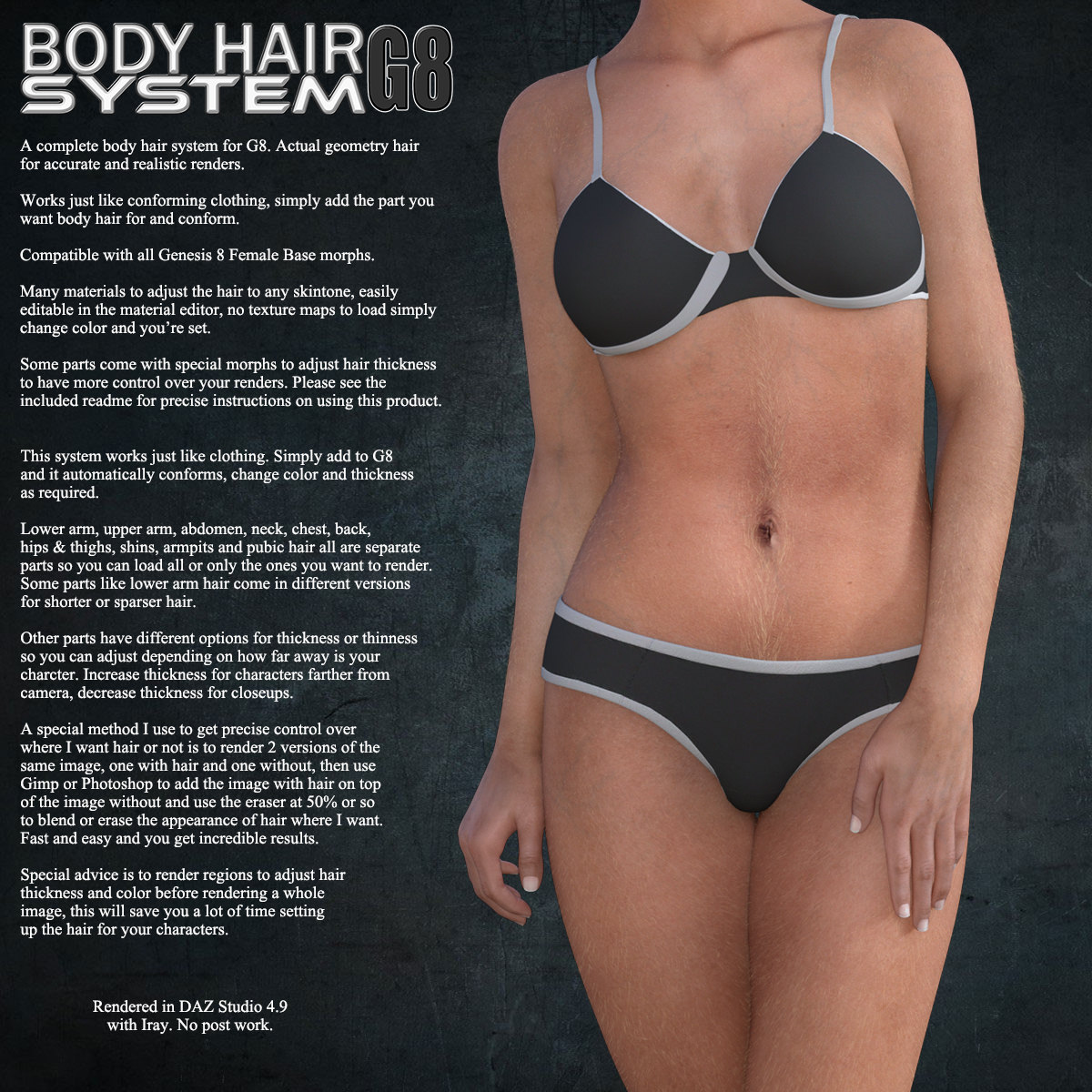 Exnem Body Hair for G8 Female by exnem