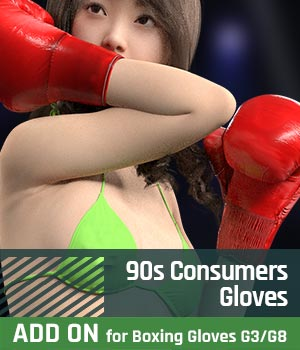 90s Consumers Gloves ADDON for Boxing Gloves 3D Figure Assets gravureboxing