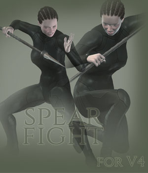 Spear Fight for V4 3D Figure Assets PainMD