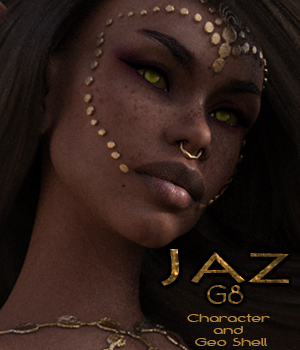 Jaz - Character and Geo Shell Outfit for G8 Female 3D Figure Assets reciecup