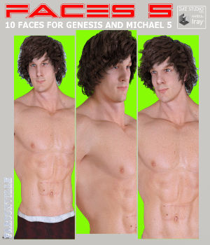 Faces 5 for Genesis Male, Michael 5 and Heroic Michael 5 3D Figure Assets farconville