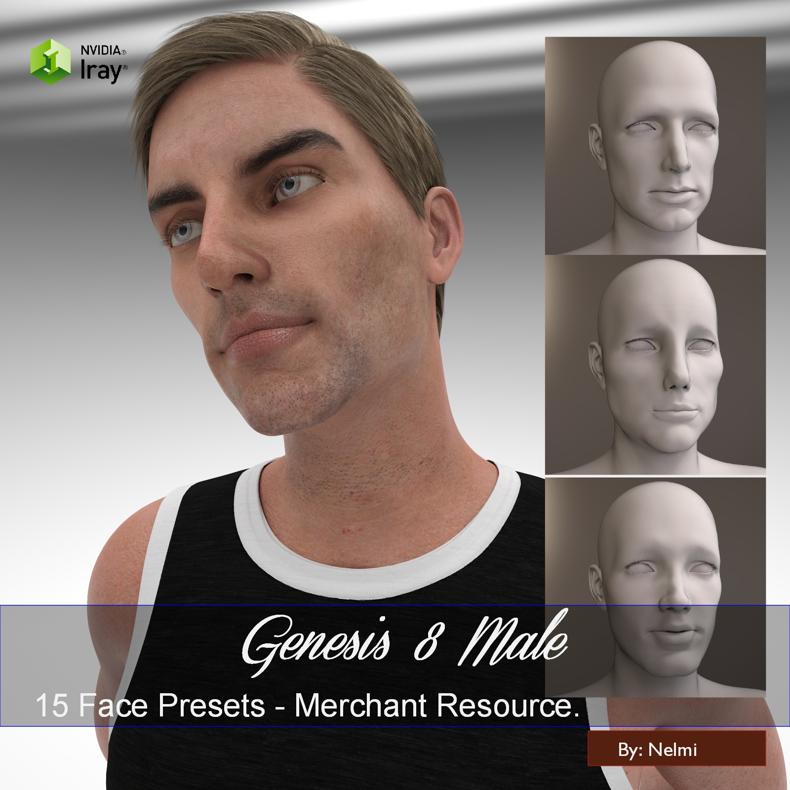 15 Face Presets for Genesis 8 Male - Merchant Resource