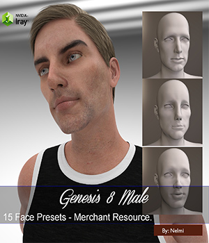 15 Face Presets for Genesis 8 Male - Merchant Resource 3D Figure Assets Merchant Resources nelmi
