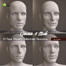 15 Face Presets for Genesis 8 Male - Merchant Resource image 1