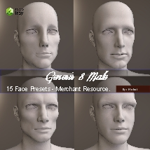 15 Face Presets for Genesis 8 Male - Merchant Resource image 2
