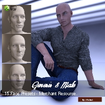 15 Face Presets for Genesis 8 Male - Merchant Resource image 4