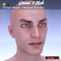 15 Face Presets for Genesis 8 Male - Merchant Resource image 5