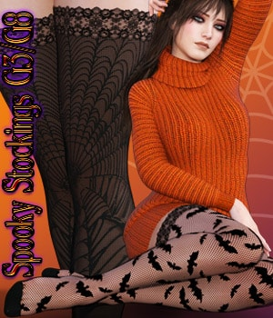 Spooky Stockings G3F G8F 3D Figure Assets kaleya