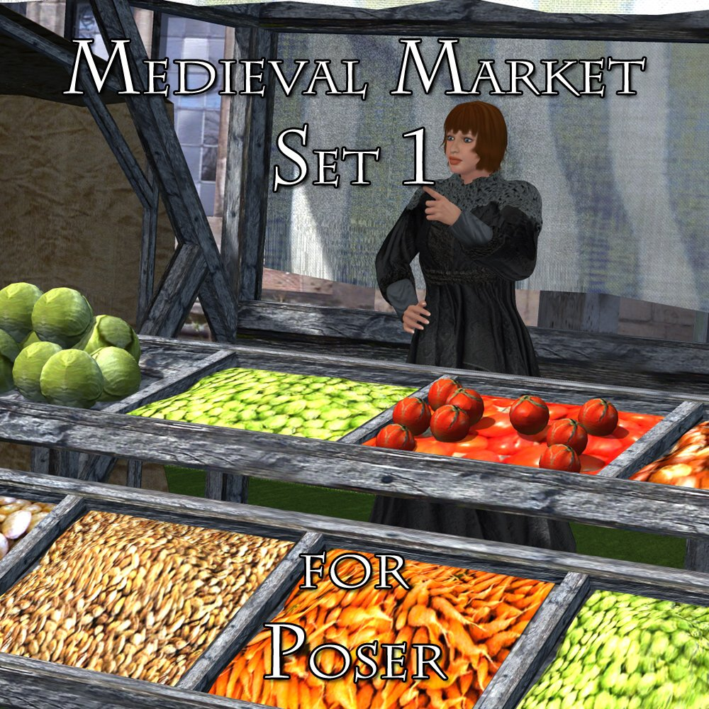 Medieval Market 1 - for Poser  - Extended License by VanishingPoint