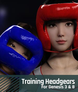 Training Headgears for Genesis 3 and Genesis 8 3D Models gravureboxing