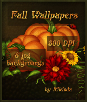 Fall Harvest Floral Wallpapers Backgroungs Set of 8 2D Graphics kikinda