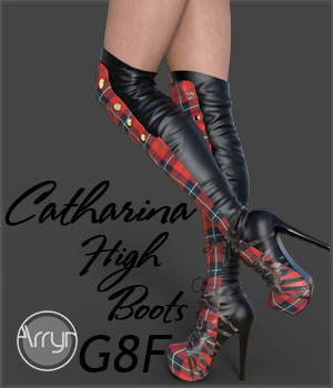 Catharina High Boots for Genesis 8 Females 3D Figure Assets Onnel