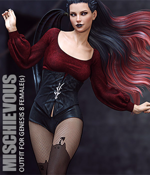 Mischievous Outfit for Genesis 8 Females 3D Figure Assets lilflame