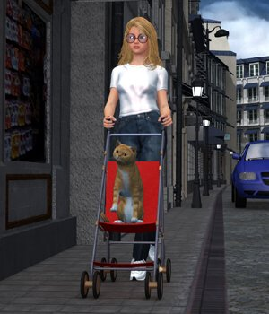 Stroller 1 (for DAZ Studio) 3D Models Digimation_ModelBank