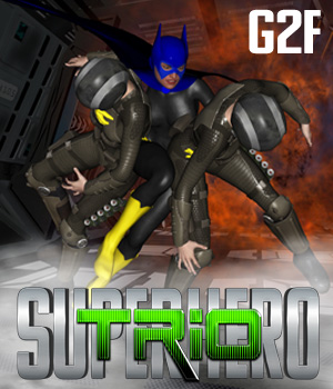 SuperHero Trio for G2F Volume 1 3D Figure Assets GriffinFX