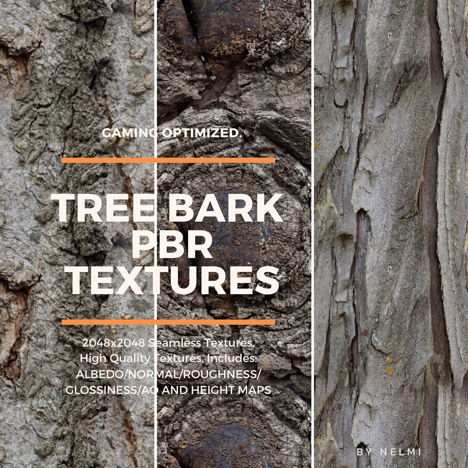 12 PBR Tree Bark Textures with Texture Maps