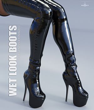 Wet Look Boots for Genesis 8 Females 3D Figure Assets lilflame