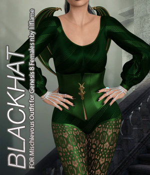BLACKHAT - Mischievous Outfit for Genesis 8 Females 3D Figure Assets Anagord
