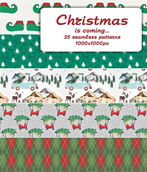 Christmas is coming - Seamless patterns 2D Graphics Merchant Resources romawka