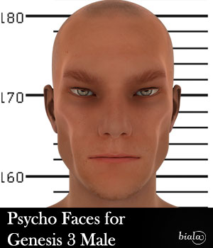 Psycho Faces for Genesis 3 Male 3D Figure Assets biala