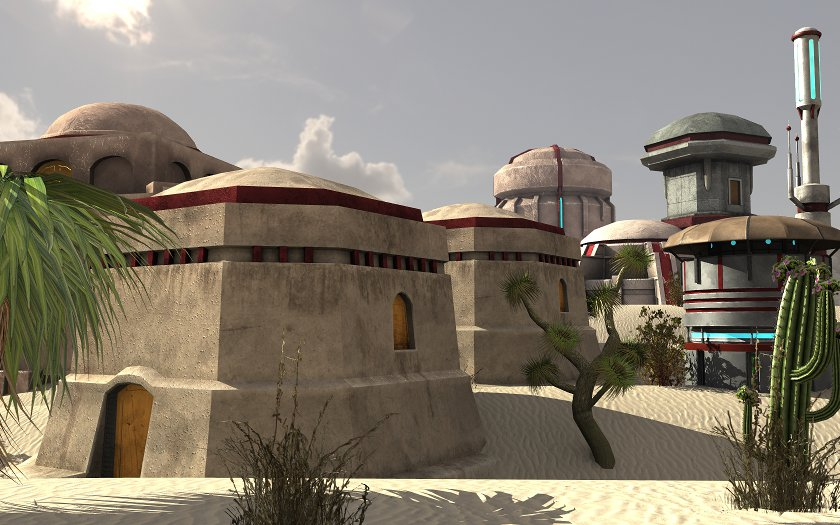 Sci-Fi Desert Buildings - Extended License