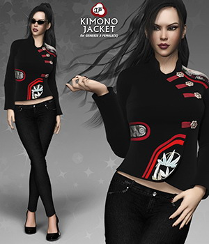 Kimono Jacket for Genesis 3 Females 3D Figure Assets mytilus