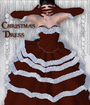 Christmas Dress for V4 and Poser 3D Figure Assets Tipol