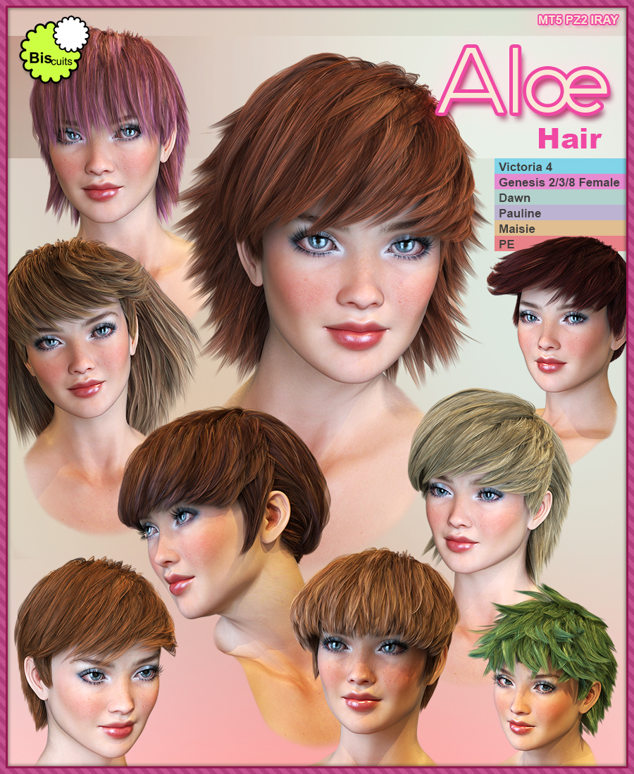 Biscuits Aloe Hair for Poser