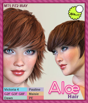 Biscuits Aloe Hair for Poser 3D Figure Assets Biscuits