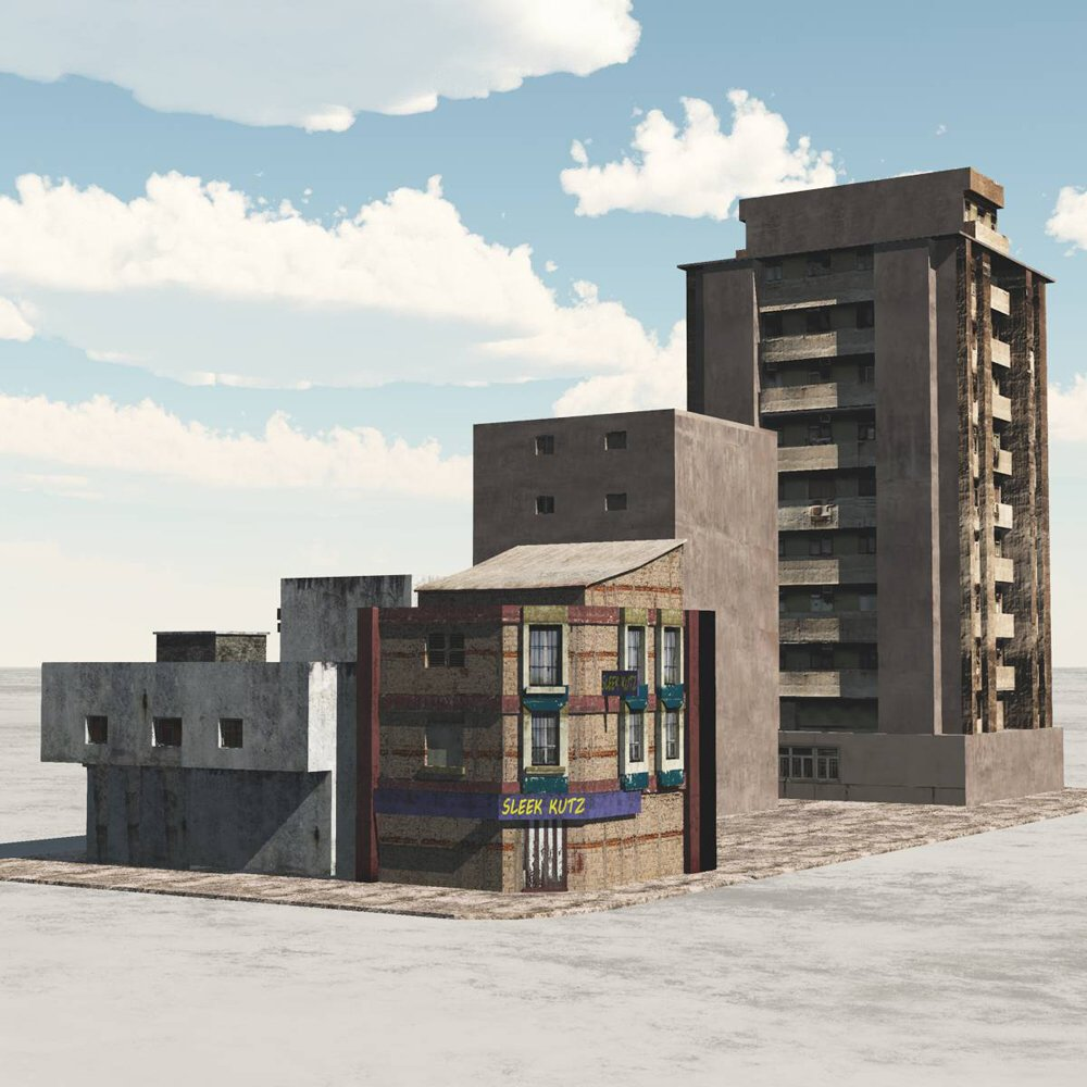 shanty town buildings 2 city block b for vue 3d models. Black Bedroom Furniture Sets. Home Design Ideas