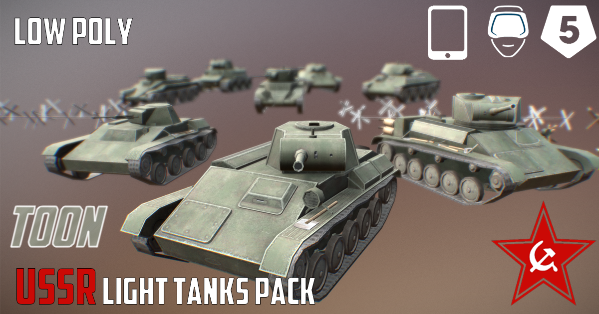 USSR Toon Light Tanks Pack - Extended License by SnaiperoG3d