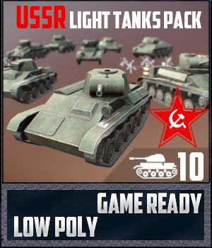 USSR Toon Light Tanks Pack - Extended License 3D Game Models : OBJ : FBX 3D Models Extended Licenses SnaiperoG3d