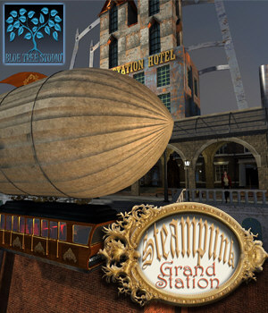 Steampunk Grand Station for Poser 3D Models BlueTreeStudio