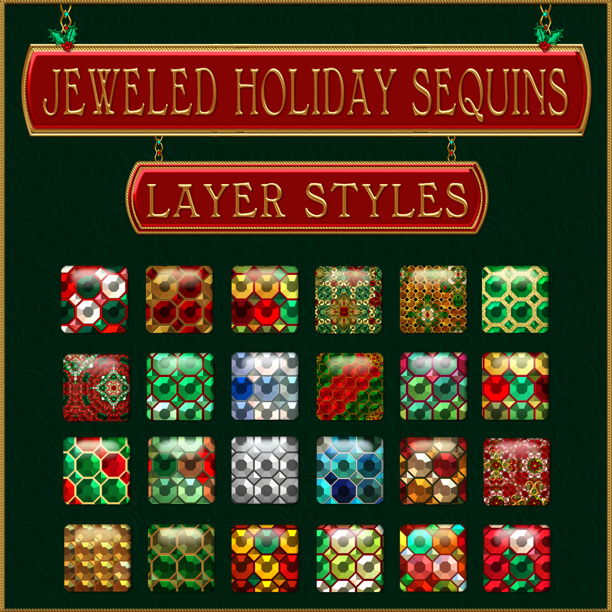 Jeweled Holiday Sequins PS Layer Styles