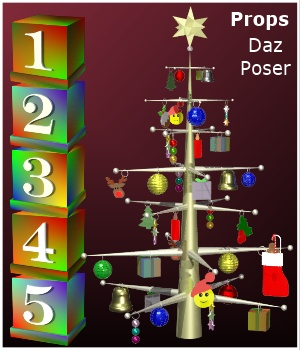 Countdown to Christmas Props for Poser & Daz 3D Models PandaB5