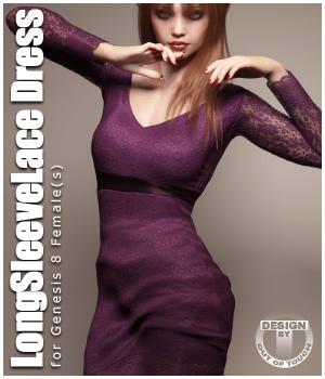 Long Sleeve Lace Dress for Genesis 8 Female(s) 3D Figure Assets outoftouch