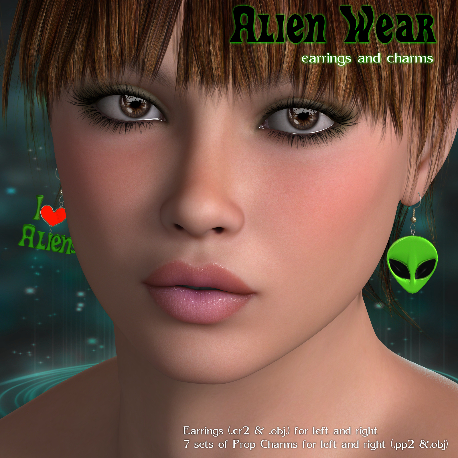Alien Wear Earrings_V4_Poser by DivabugDesigns